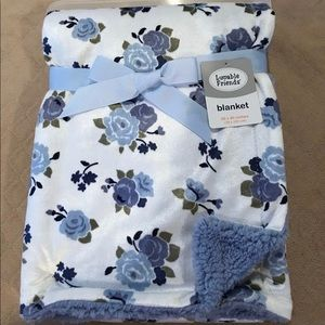 Luvable Friends Blue Floral Blanket